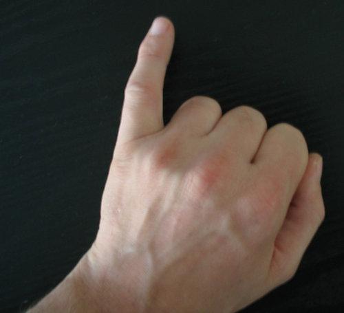 小指を立てる
