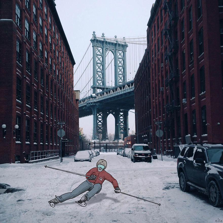 ニューヨークの街に遊び心あるイラストを付け加えた写真シリーズ - AnimateNY3