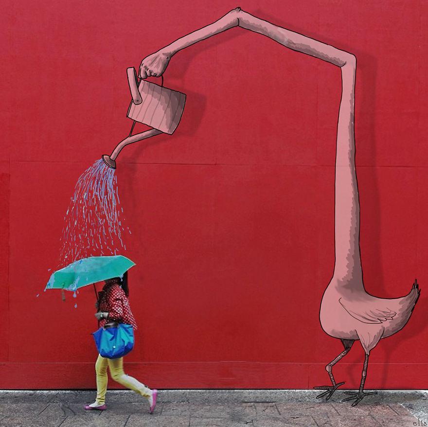 ニューヨークの街に遊び心あるイラストを付け加えた写真シリーズ - AnimateNY10