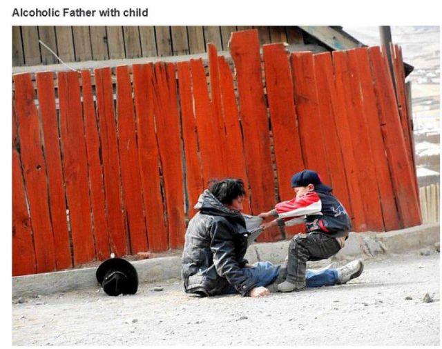 アルコール中毒の父親と息子
