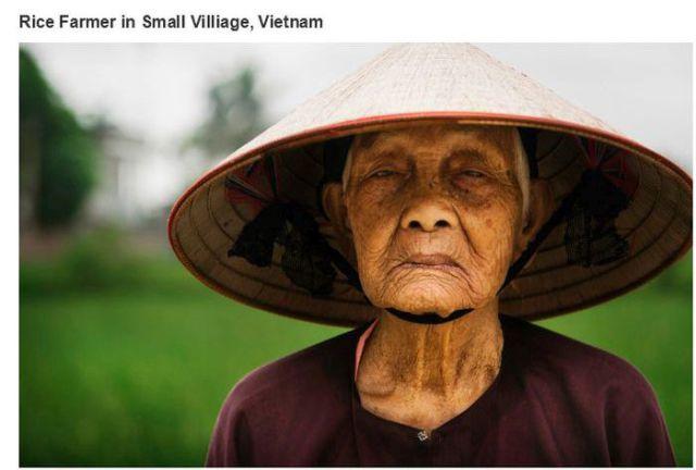 ベトナム、小さな村の米農家