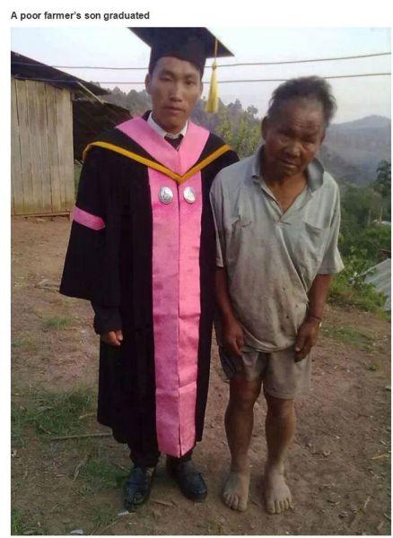 貧しい農民の息子は大学を卒業