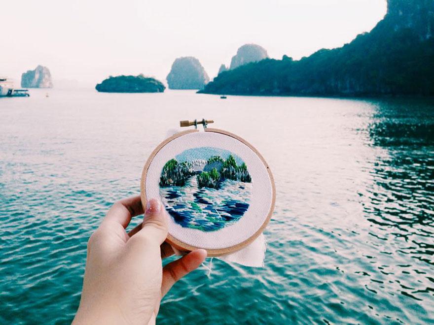 旅先の風景を写真ではなく刺繍に残すアーティストの作品がスゴい