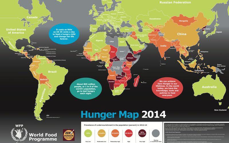 世界の飢餓状況が一目でわかる「ハンガーマップ2014」