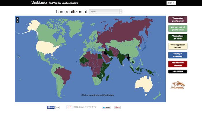 ビザの必要な国が一目で分かる世界地図「VisaMapper」